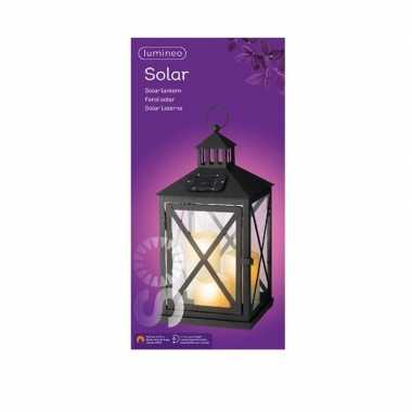 Zwarte solar led licht lantaarn met kaarsen 41 cm