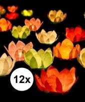 12x drijvende kaarsen lantaarns bloemen 29 cm gekleurd papier