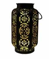 1x stuks zwart gouden solar lantaarns van metaal 22 cm