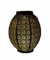 1x stuks zwart gouden solar lantaarns van metaal 23 cm