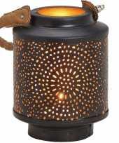 1x waxinelichthouders windlichten lantaarns metaal zwart goud 13 cm