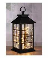 1x zwarte lantaarns met led lampjes 31 cm