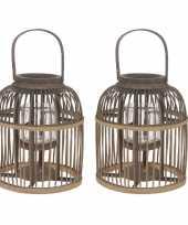 2x bamboe lantaarns windlichten met glas 25 x 30 cm