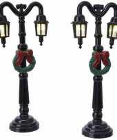 2x kerstdorp onderdelen straatlantaarns 12 5 cm led verlichting