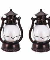 2x koperen lantaarn decoratie 12 cm vlam led licht op batterijen