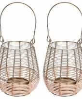 2x metalen rieten lantaarns kaarsenhouders goud 14 x 18 cm