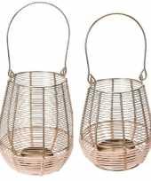 2x metalen rieten lantaarns kaarsenhouders goud 14x18 18x23 cm