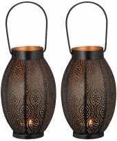 2x metalen theelichthouders waxinelichthouders windlichten lantaarns zwart goud 25 cm