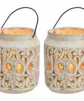 2x stenen theelichthouders waxinelichthouders windlichten lantaarns wit 19 cm