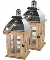 2x stuks houten lantaarns windlichten solid 24 x 50 cm