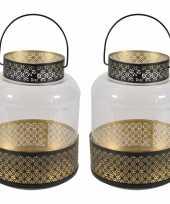 2x stuks lantaarns windlichten zwart goud arabische stijl 20 x 28 cm metaal en glas