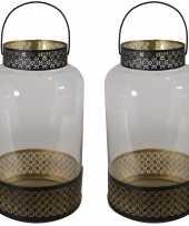 2x stuks lantaarns windlichten zwart goud arabische stijl 20 x 37 cm metaal en glas