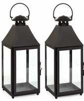 2x stuks metalen lantaarns windlichten bilbao 14 x 14 x 37 cm zwart