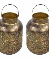 2x stuks metalen lantaarns windlichten goud grof 15 x 23 cm