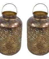 2x stuks metalen lantaarns windlichten goud grof 20 x 32 cm