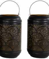 2x stuks metalen lantaarns windlichten zwart goud cirkels 16 x 26 cm