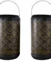 2x stuks metalen lantaarns windlichten zwart goud cirkels 26 x 45 cm