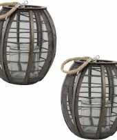 2x stuks ronde houten lantaarns windlichten lock 23 cm