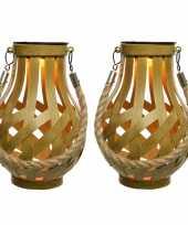 2x stuks solar lantaarn ijzer met vlam effect goud 18 5 cm