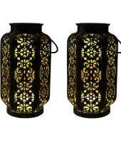 2x stuks zwart gouden solar lantaarns van metaal 22 cm