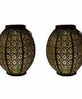 2x stuks zwart gouden solar lantaarns van metaal 23 cm