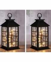 2x zwarte lantaarns met led lampjes 31 cm