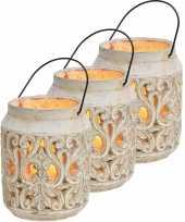 3x stenen theelichthouders waxinelichthouders windlichten lantaarns wit 19 cm