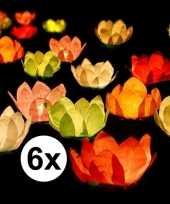 6x drijvende kaarsen lantaarns bloemen 29 cm gekleurd papier