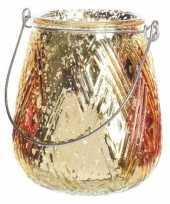 Gouden theelichthouder lantaarn 10 cm