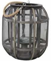 Houten lantaarn windlicht lock 25 x 29 cm