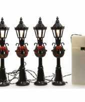 Kerstdorp onderdelen materialen 8x miniatuur lantaarnpalen met licht
