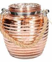 Lantaarn koper glitter glas 16 cm