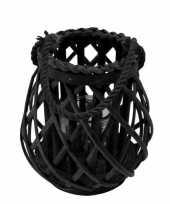 Lantaarn windlicht rotan glas 20 cm zwart