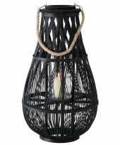 Lantaarn windlicht rotan glas van 58 cm zwart