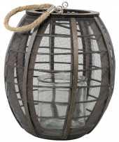 Ronde houten lantaarn windlicht lock 23 cm