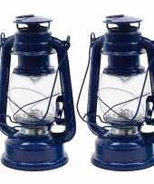 Set van 2 blauwe led licht stormlantaarns 25 cm