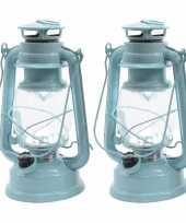 Set van 2 licht mintgroene led licht stormlantaarns 25 cm