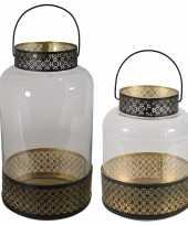 Set van 2x lantaarns windlichten zwart goud arabische stijl 28 en 37 cm metaal en glas