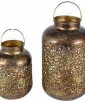 Set van 2x metalen lantaarns windlichten goud 23 en 32 cm