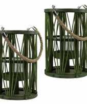 Set van 2x stuks lantaarn windlicht rotan glas 17 x 24 cm groen