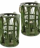 Set van 2x stuks lantaarn windlicht rotan glas 19 x 27 cm groen