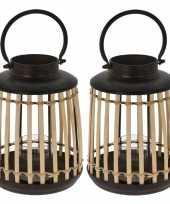 Set van 2x stuks lantaarns windlichten bamboe metaal 18 x 24 cm zwart