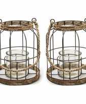Set van 2x stuks metalen jute lantaarn kaarsenhouders 20 x 17 5 cm