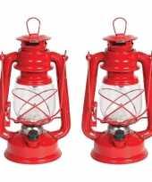 Set van 2x stuks rode led stormlantaarns 24 cm