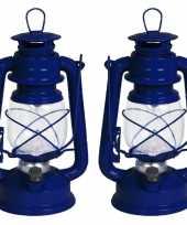 Set van 2x stuks stormlantaarns blauw led 24 cm