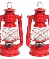 Set van 2x stuks stormlantaarns rood led 24 cm