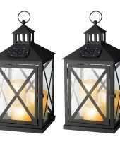 Set van 2x stuks zwarte solar led licht lantaarns met kaarsen 41 cm