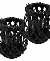 Set van 3x stuks lantaarn windlicht rotan glas 20 cm zwart