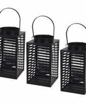 Set van 3x stuks metalen lantaarn windlicht kaarshouder zwart 12 x 24 5 cm