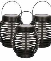 Set van 3x zwarte solar lantaarns met vlam effect 15 cm